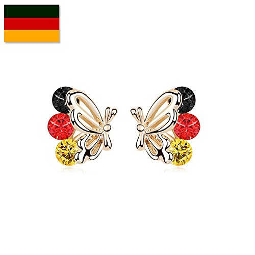 Gorgeous Jewelry European Cup Fashion Country (Germany) Color Crystal Accented Champagne Gold Plated Butterfly Wing Personality (Emo Girl Plastic Mask)