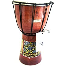 "Djembe Drum - Solid Wood Carved & Painted African Percussion Bongo Drum, SIZE 9"" - JIVE BRAND, Professional Sound"