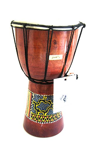 Wood Bongos - Djembe Drum - Solid Wood Carved & Painted African Percussion Bongo Drum, SIZE 9