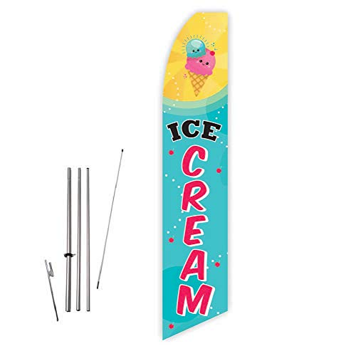 Ice Cream (Cyan/Yellow) Super Novo Feather Flag - Complete with 15ft Pole Set and Ground Spike
