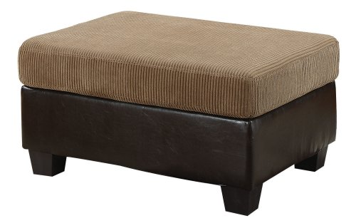 acme 55947 Connell Ottoman, Light Brown Corduroy and Espresso PU