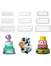 Runhiskii 9 Pieces Cake Mold Cookie Fondant Cutters, Geometric Biscuit Cutters for Birthday Cake Cupcake Decorating, Square & Hexagon Cookie Cutters, Mermaid Cake Fish Scale Fondant Cutters