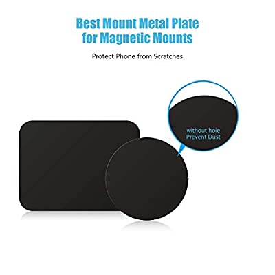 WizGear Mount Metal Plate with Adhesive for MagneticCradle-less Mount - 4 Pack, 2 Rectangle and 2 Round (Compatible with Magnetic Mounts) Black