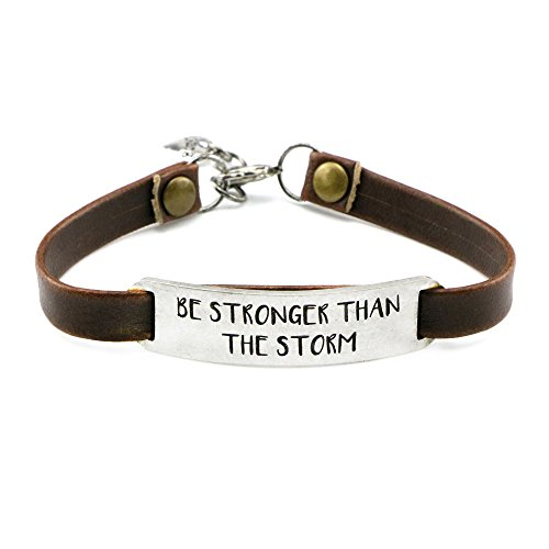 Storm Antique - UNQJRY Inspirational Bracelets for Women Personalized Gifts for Her Daily Reminder Be stronger than the storm