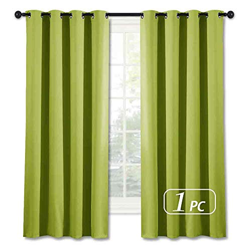NICETOWN Blackout Curtain Window Panel Drape - (Green Color) Thermal Insulated Window Covering Room Darkening Grommet Top Drapery for Living Room, 52Wx63L, 1 Piece (Curtain Lime Panels Green)