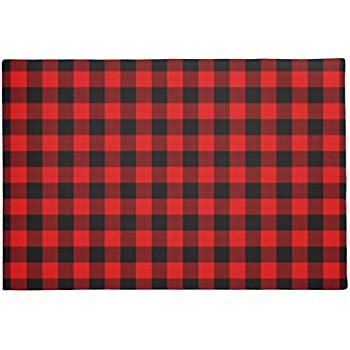 Rustic Red Black Buffalo Check Plaid Pattern Doormat