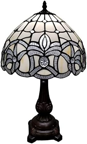 Amora Lighting Tiffany Style Table Lamp Banker 19″ Tall Stained Glass White Mahogany Elegant Floral Vintage Antique Light D cor Living Room Nightstand Bedroom Handmade Gift AM281TL12B