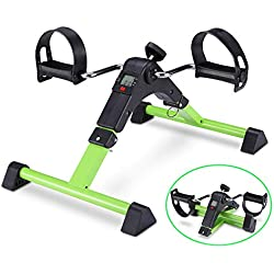 Pedal Exerciser Foot Peddler Mini Bike Foldable with LCD Monitor (Green)