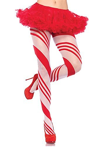 Leg Avenue One Size Red/White Women's Candy Striped Pantyhose by Leg Avenue