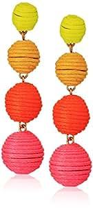 Panacea Yellow Orange Pink Linear Ball Drop Earrings