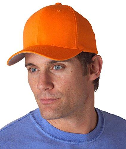 Cap Fitted Orange - Flexfit Wooly Combed Twill Cap - 6277 (Large/XLarge, Orange)