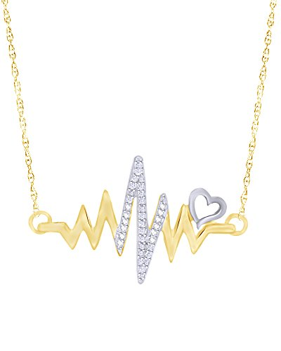 Wishrocks Round Cut Diamond Accent Heartbeat with Heart Necklace in 14K Yellow Gold Over Sterling Silver