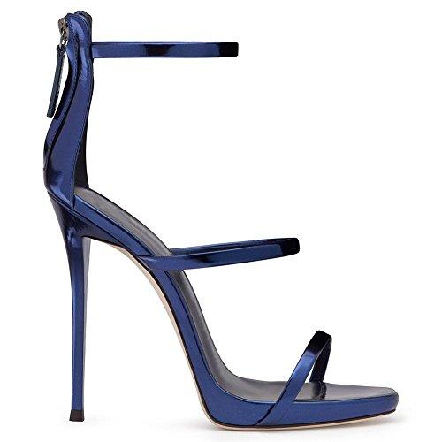 Brevetto Alto Signore 37 Le Cinghia 5 uk Stiletto Pelle Dito Sbirciare Donna Blu Eur Caviglia Cerniera Scarpe Blue Tacco Sexy 4 Sandali Del Piede Zpl 5 qApOwPx
