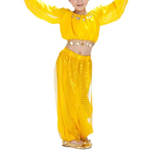 [BellyLady Kid Tribal Belly Dance Costume, Harem Pants & Top Set For Christmas YELLOW-L] (Cute Costumes For Dance)