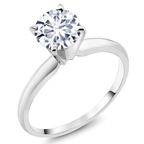 Ring Solitaire White Gold 18k - 18K White Gold Solitaire Ring Forever 1 (GHI) Round 1.00ct (DEW) Created Moissanite by Charles & Colvard (Size 7)