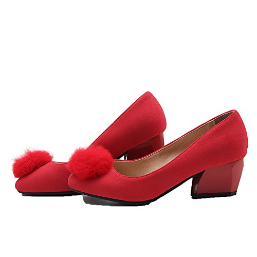 VogueZone009 Women's Solid PU Kitten-Heels Round-Toe Pull-On Pumps-Shoes Red 4KAXqVv