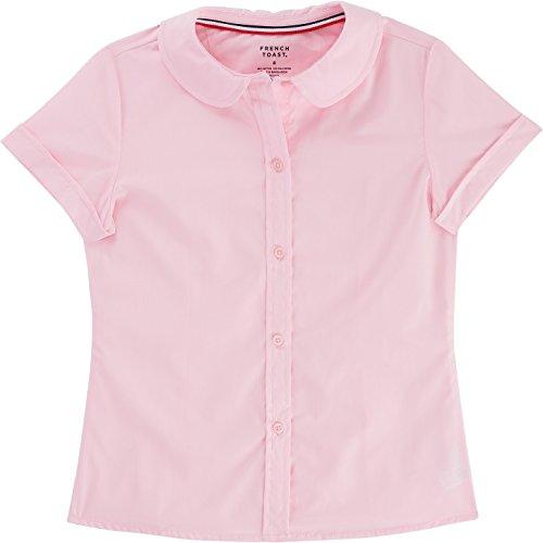 Short Girls Sleeve Blouse (French Toast School Uniform Girls Short Sleeve Modern Peter Pan Blouse, Pink, 12)