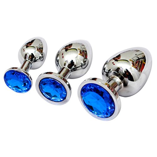 1PC Owill Berg Crystal Silver Colour Metal Backyard Stainless Steel Anal Plug (L, Blue)