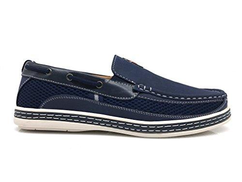 Dc9n Mens Autunno Estate Leggero Casual Fit Classic Slip On Mocassini Scarpe Da Barca Blu Navy