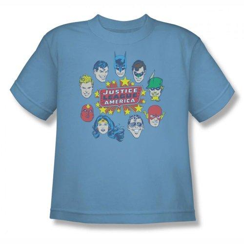 Youth: DC Comics - Justice Head Circle Kids T-Shirt Size YM Blue
