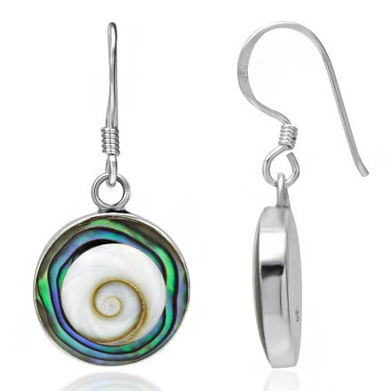 925-sterling-silver-abalone-or-turquoise-shiva-eye-shell-inlay-round-dangle-hook-earrings