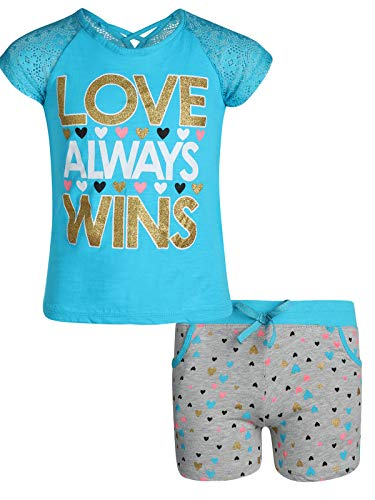 Real Love Girls 2-Piece French Terry Short Set, Blue Love Wins, Size 7/8']()