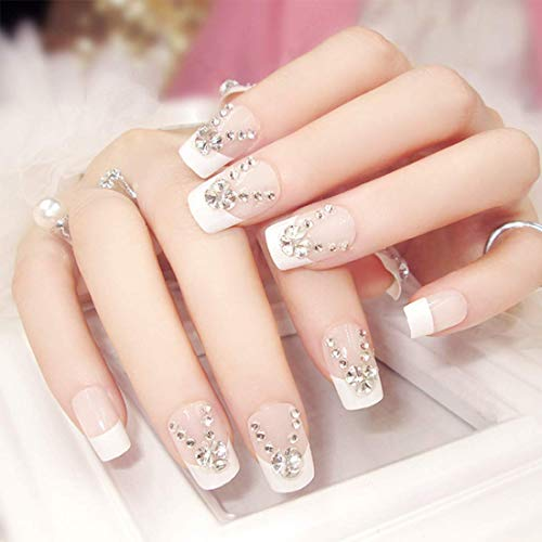 24PCS French Fake Nails With Glue Wedding Bride Party Fake Ladies Full Nail Tips