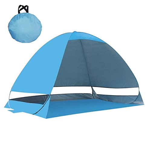 Samris Beach Sun Shade Canopy Tent, Beach Tent Sun Shelter Portable Shade UV Pop Up Light-Weight Cabana Beach Tents Fit 2-4 Person for Fishing Beach Seaside Park Yard, Blue by Samris