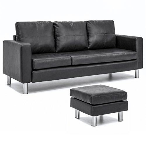 Best Choice Products Leather L-Shape Sectional Sofa Couch w/ Reversible Chaise Ottoman (Black)