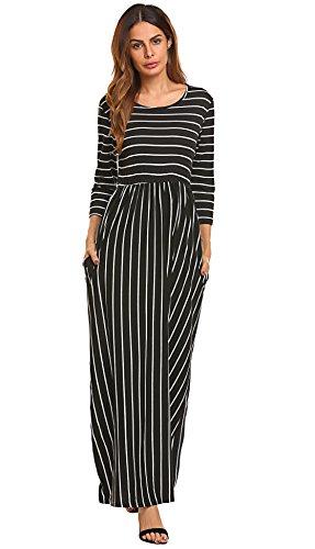 3/4 sleeve black maxi dress - 6
