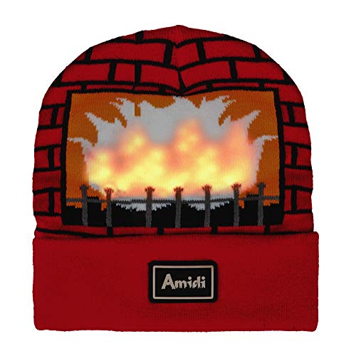 Unisex LED Knit Beanie Light Up Fireplace Winter Hat for Party Red