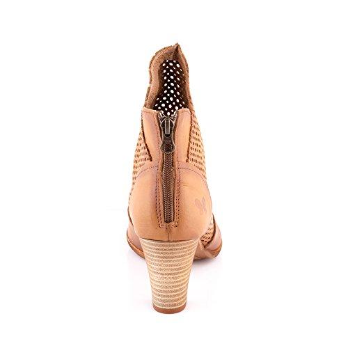 Felmini - Zapatos para Mujer - Enamorarse com Omega A031 - Botines de tacón - Cuero Genuino - Marrón Marrón