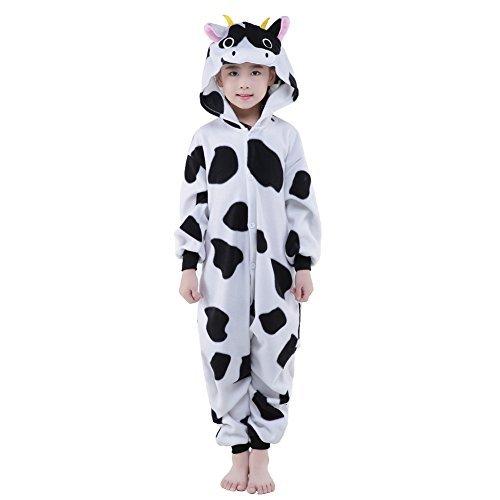 NEWCOSPLAY Unisex Children Cow Pyjamas Halloween Costume (10-Height 56-59) White