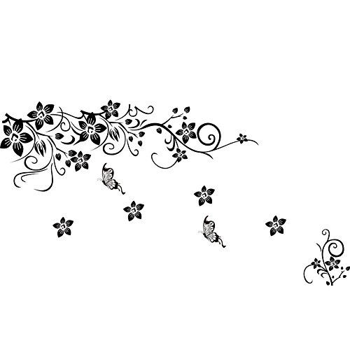 Soledi Removable Vines Flowers Butterfly 130 x 80cm Mural Vinyl Wall Decal, Black