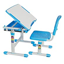 VIVO Height Adjustable Childrens Desk & Chair Kids Interactive Work Station Blue (DESK-V201B)