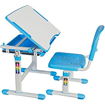 VIVO Height Adjustable Childrenu0027s Desk And Chair Set, Blue
