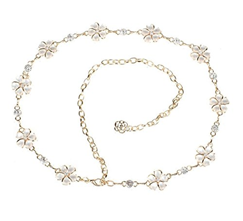 - Women's Metal Chain Belt Spatart Flower Gold Silver Belts