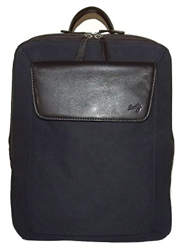 Scully Flint Dual Compartment Canvas & Leather Laptop Business Backpack Navy by Scully