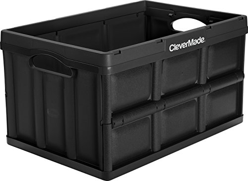 CleverMade CleverCrates 46 Liter Collapsible Storage Bin/Container: Solid Wall Utility Basket/Tote, (Collapsible Plastic Crates)