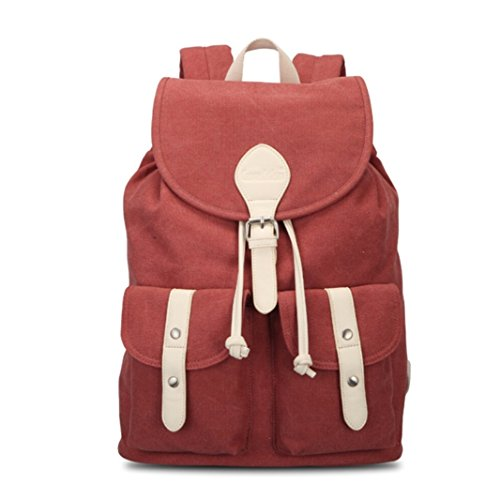 Tiny Chou Unisex Soft Canvas Drawstring Backpack Travel Daypack Schoolbag Red