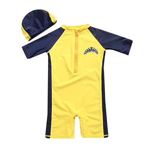 oldeagle Baby Swimwear Set, Children Kids Short Sleeve Cartoon Shark Beach One Piece Swimsuit+Hat 2PCs Swimwear Set (2-3T, Yellow)
