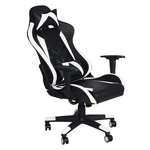 LUCKYERMORE Computer Gaming Chair Office Desk Chairs Ergonomic Game Chairs 360°Swivel Style High Back for Great Support Black White