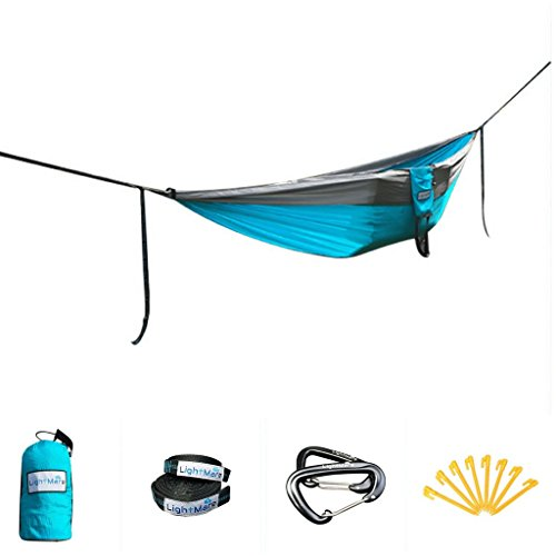 LightMare Double Camping Hammock - SPECIAL 4in1 Lightweight, Portable, Parachute Hammock, Tent, Swing - Includes Tree Straps and Carabiners: Great for Hiking, Backpacking, Camping, Travel, Beach, Yard by LightMarePro