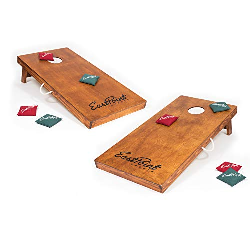 Corn Bag Toss (EastPoint Sports Full Size 4' x 2' Solid Wood Cornhole Game Set Bean Bag Toss - Features Storage Compartment, Carry Handle, and Return)