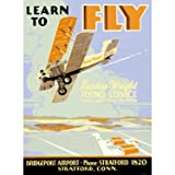 Learn To Fly Curtiss Flight School 9''x12'' Solid Wood Sign Wall Decor Art