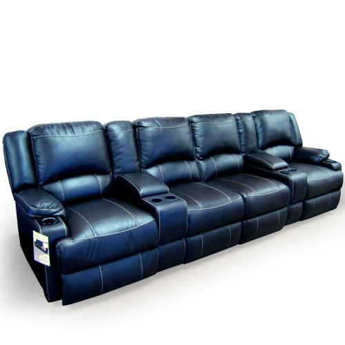 HT Design Somerset Home Theater Seating Row of 2 Loveseat Power Recline Top Grain Brown Leather LED Package