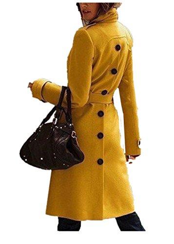 Tengfu Women's Single Breasted Slim Wool Long Pea Trench Coat with Belt Yellow