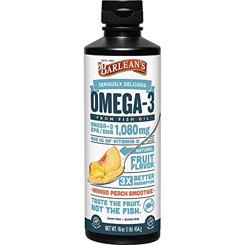 Barleans Seriously Delicious Omega-3 Fish Oil, Mango Peach Smoothie, 16oz
