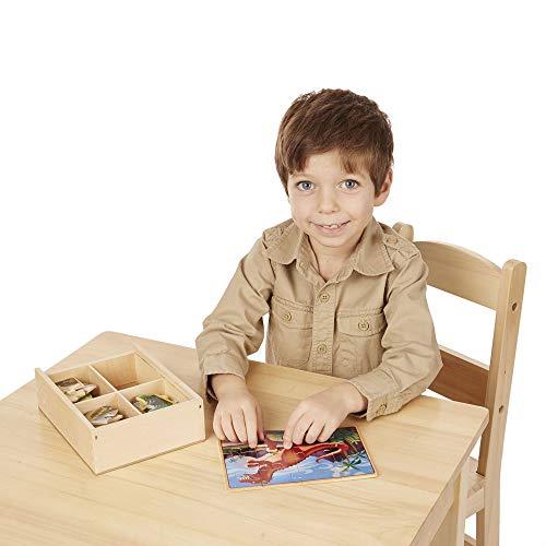 "Melissa & Doug Dinosaur Jigsaw Puzzles in a Box, Four Wooden Puzzles, Beautiful Artwork, Sturdy Wooden Storage Box, 12 Pieces, 8"" H x 6"" W x 2.5"" L"