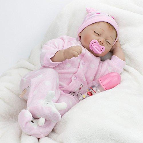 CHAREX Reborn Sleeping Baby Doll Soft Silicone Vinyl Lifelike Realistic 22 inch Weighted Newborn Dolls